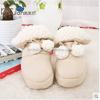 GOTS organic cotton thicken and thermal newborn Sherpa fleece soft outsole newborn baby boots