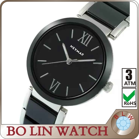 2015 new fashion 3ATM Water resistant Black bands Ceramic Quartz ladies watch