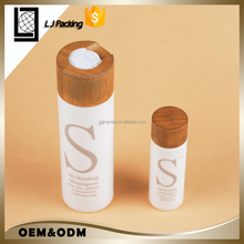 60ml 200ml white HDPE plastic spray bottle with wooden bamboo press cap