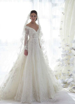 new long sleeve v neck lace ball gown illusion sleeve wedding dress