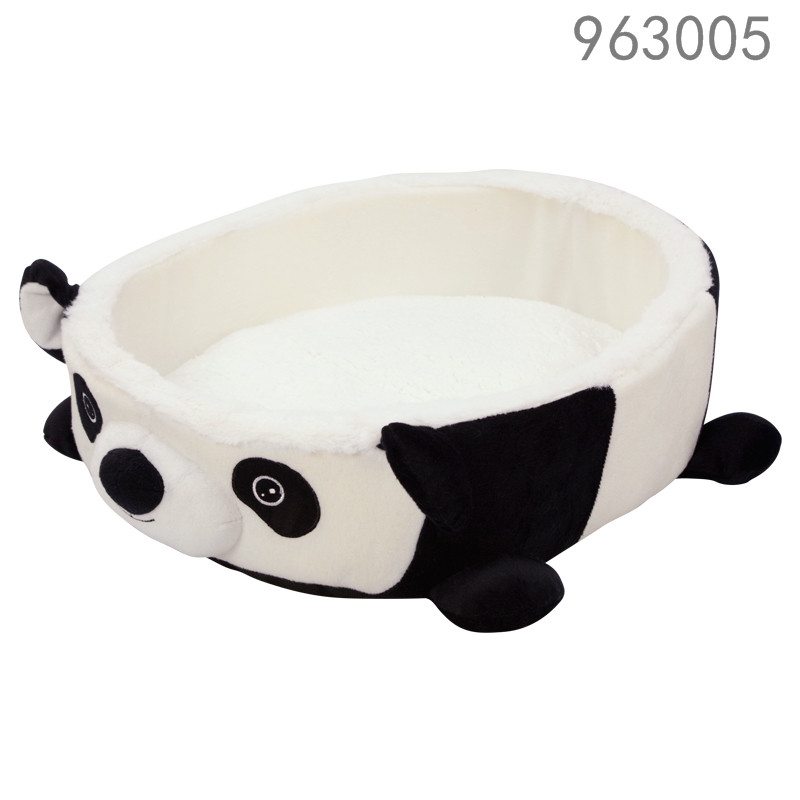 best selling hot sale cheap cute unique home goods bottom side waterproof animal panda shape pet dog bed with removable cushion