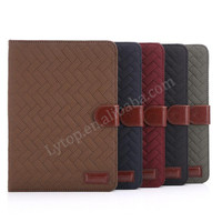 Retro Grid design wallet case for apple iPad mini 1 2 3, leather stand case for ipad mini 1 2 3