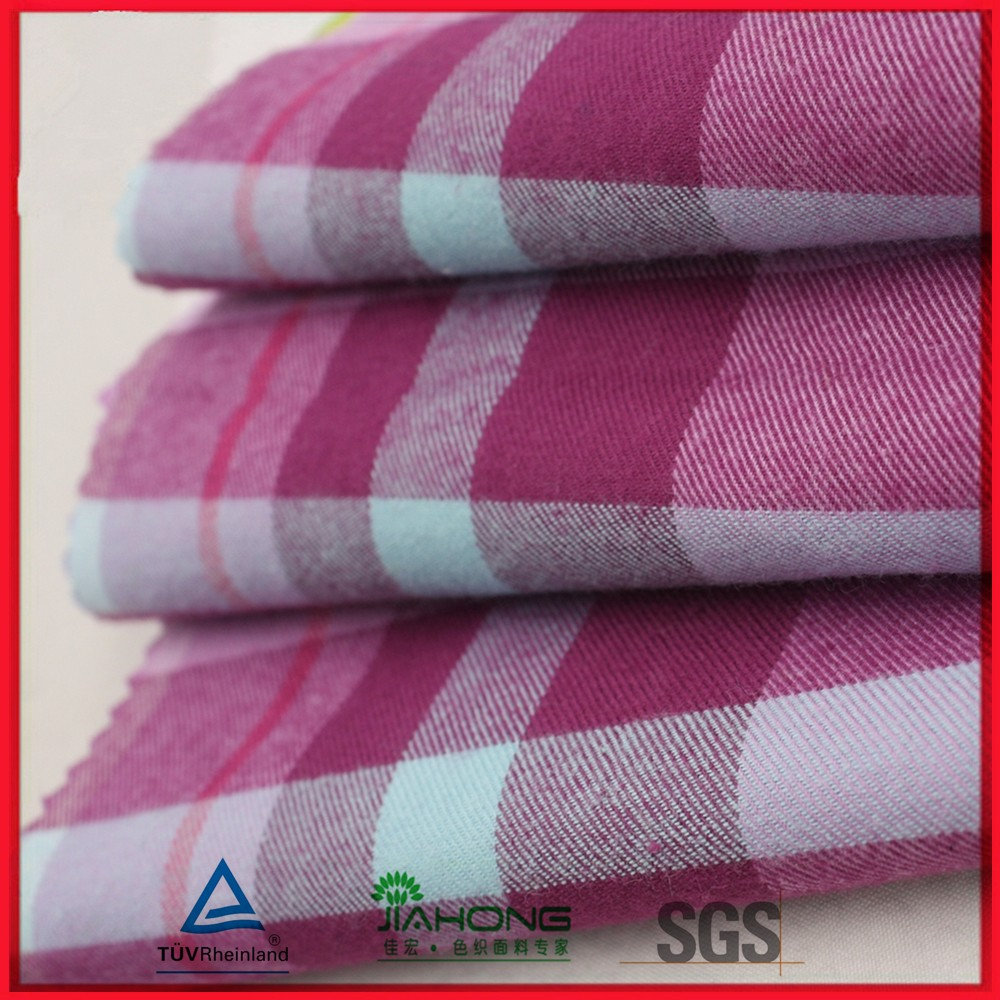 Factory direct china 100% cotton 21*21 168GSM double side brushed yarn dyed flannel fabric