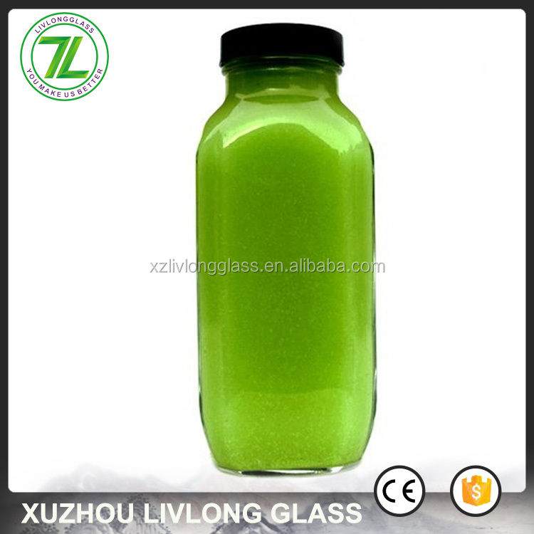wholesale 500ml 16oz clear french square glass bottle for cold pressed juice
