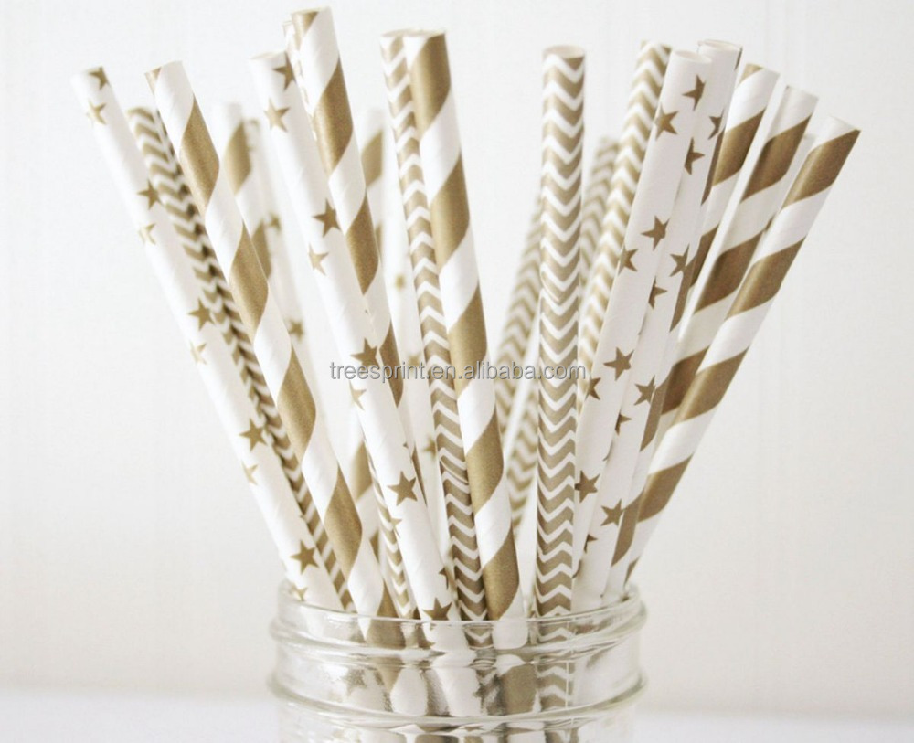 Custom printing gold stripe paper drinking straws for party or family dinner