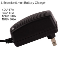 18650 li ion mobile wall battery charger 8.4v 1.2a 12.6v 1a 16.8v 0.8a