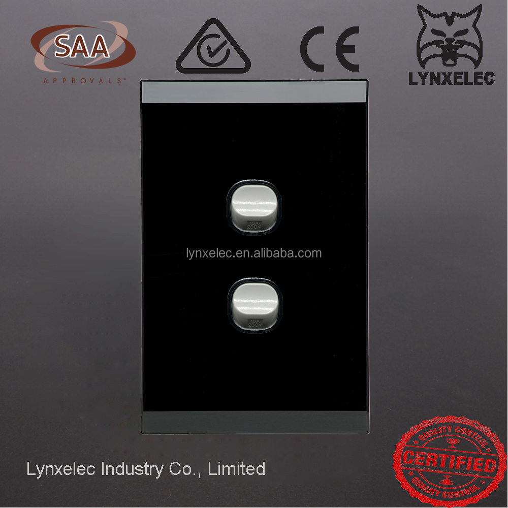 Australia 250 15A Clipsal type glass Plate wall switch Acrylic plate switch Saturn light switch with SAA certificate