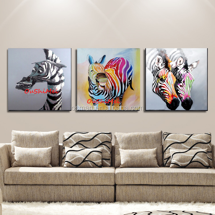 Free Shipping 100%Hand-painted Funny Animal Series Zebra Oil Painting On Canvas Handmade Abstract Animals Zebra Oil Painting