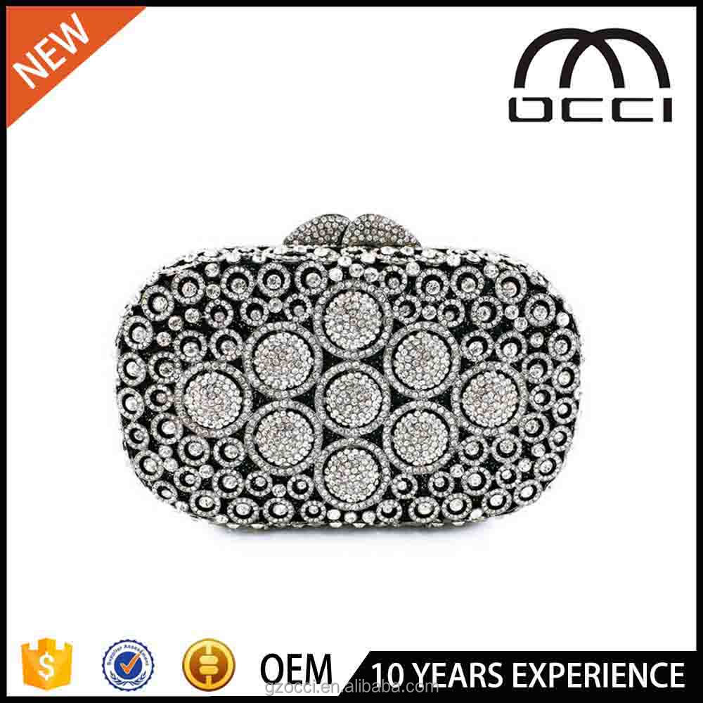 fancy crystal purse ladies online shopping hard metal hand purses SC2799