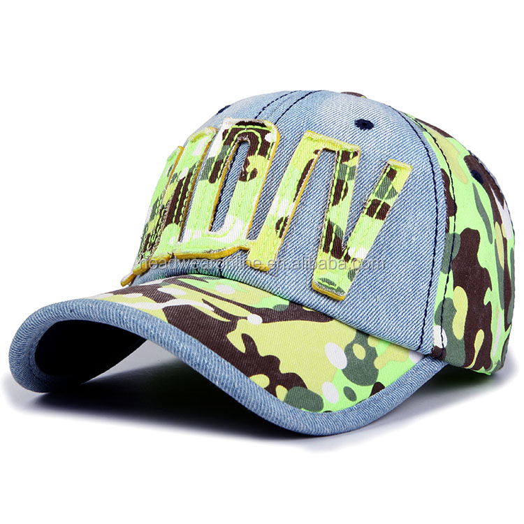 washed unstructured camouflage logo baseball cap hats