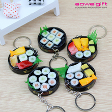 Creative Sushi Promotion Gift Keychain 3D Simulation Food Plastic Key Chain