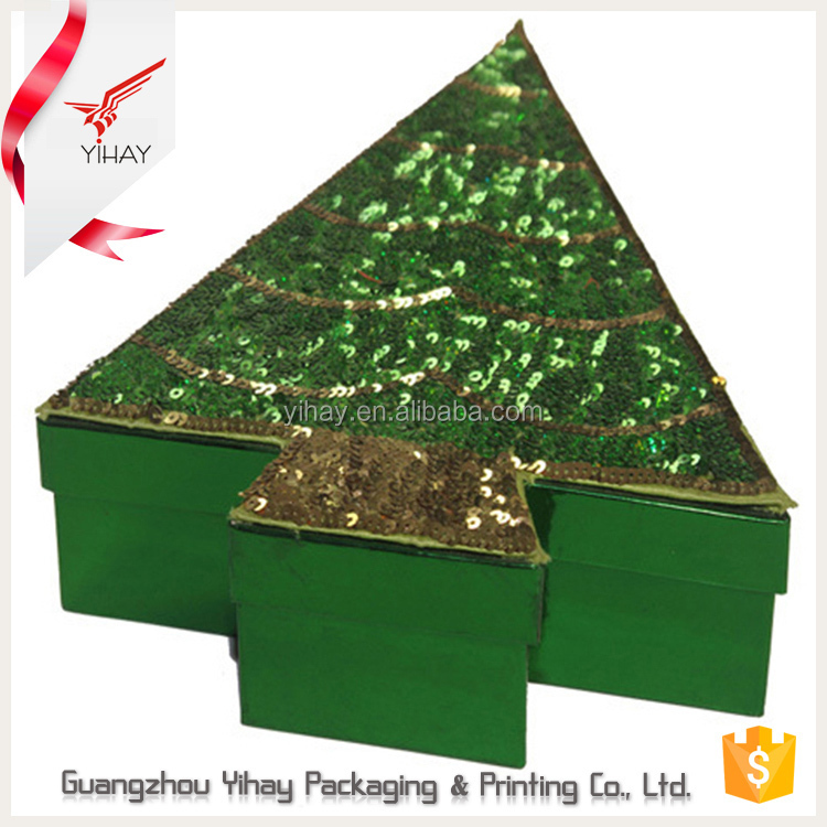 2016 New custom christmas tree shape sequin gift box design cardboard paper packaging gift christmas box wholesale