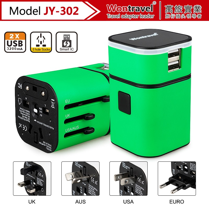 Alibaba Hot selling power universal travel adapter/power adaptor with dual USB for mobile phone/tablet charger