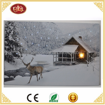 Winter cabin pictures with flickering lights LED & fiber optic lighted wall canvas art
