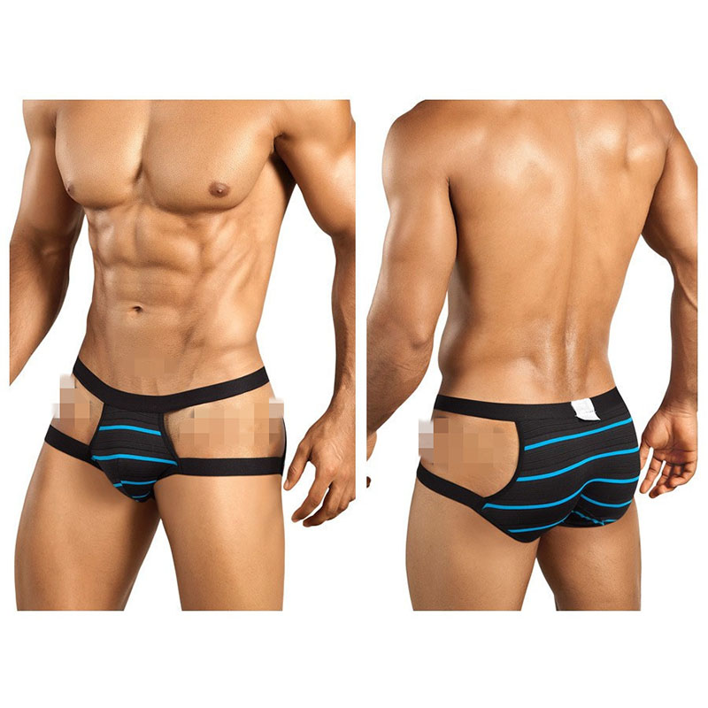 Custom Hot sexy open sides stripes mens underwear boxer briefs