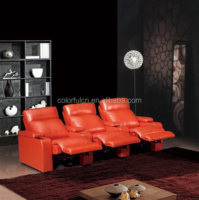High-end germany leather sofa italy genuine leather orange sofa reclining LS-610