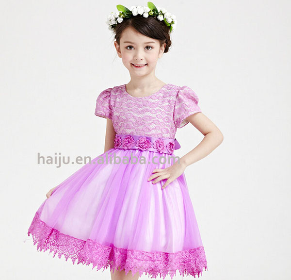 Short sleeve cotton dress frock design for baby girl
