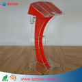 Clear Acrylic Red Contour Lectern Acrylic None-Assemble Style Podium