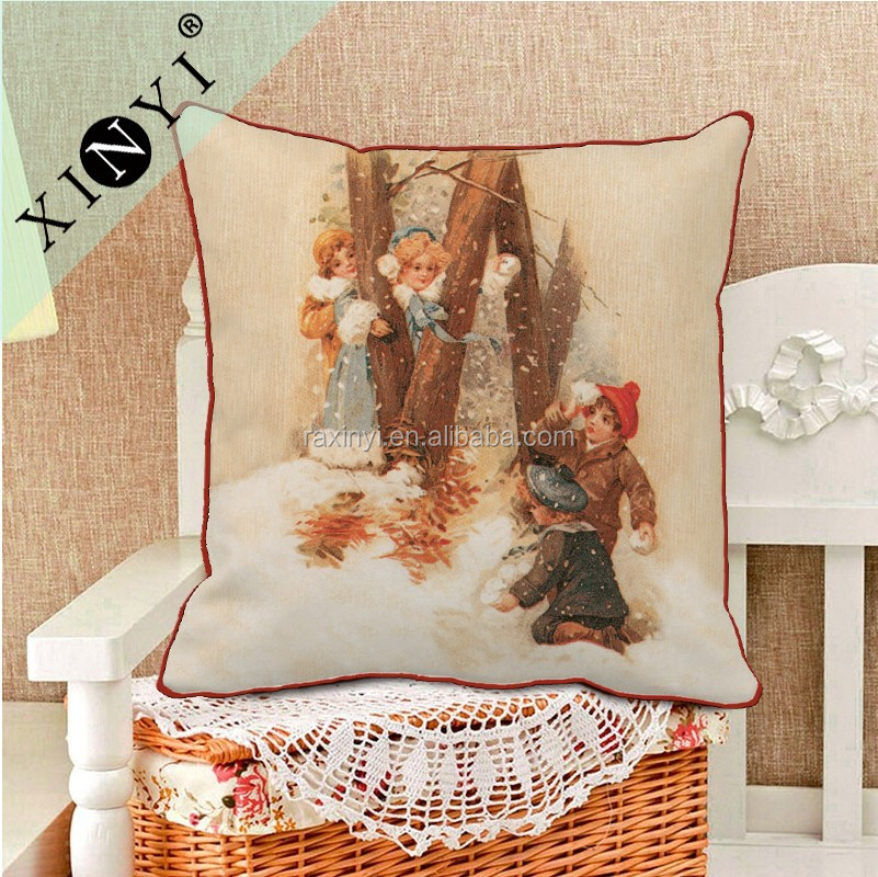 Square 45*45 Fashion Christmas Decorative Cushion Covers Custom Printing Pillow Cover Latest Design Cushion Cover