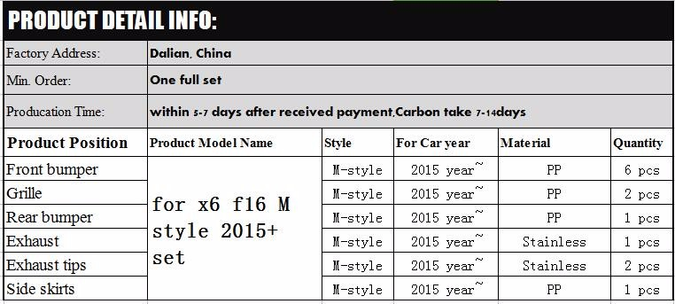 2015 year style X6 F16 M style set for x6 M body kit tunning up 2014