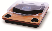 Belt-driven portable retro turntable with ruby diamond needle
