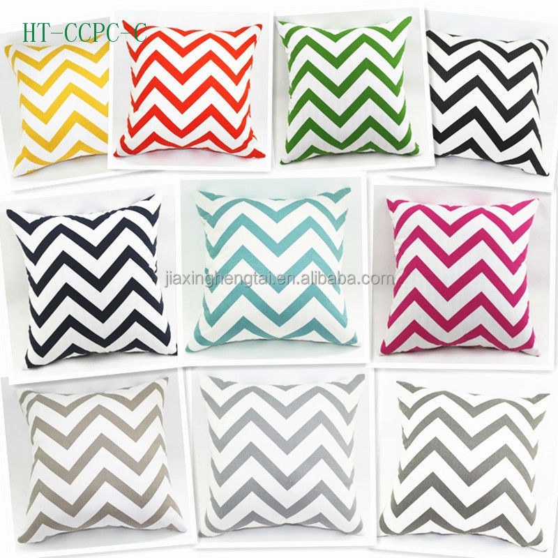 New Style, Sofa Car Printing Decorative Cushion Cover Throw Pillow Case Cotton Canvas Chevron Zig zag Print For Wholesale