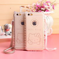 Best 3D Glitter Hello Kitty Pattern Soft TPU Material Transparent Back Cover Cell Phone Cases for Iphone6 6plus