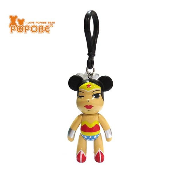 Hot Selling Wonder Woman Figure Key Ring Super Hero Key Chain Pvc Material Custom Design