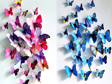 Beautiful 12pcs/set PVC Magnet 3D Butterfly Wall Sticker Decals Home Decor Poster For Kids Rooms Art Stickers
