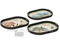 Vintage S/3 Flowers Wooden Tray For Home&Garden