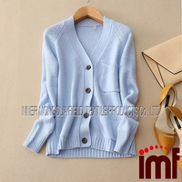 Women's Knit Cardigan Sweater,V-neck,Light blue