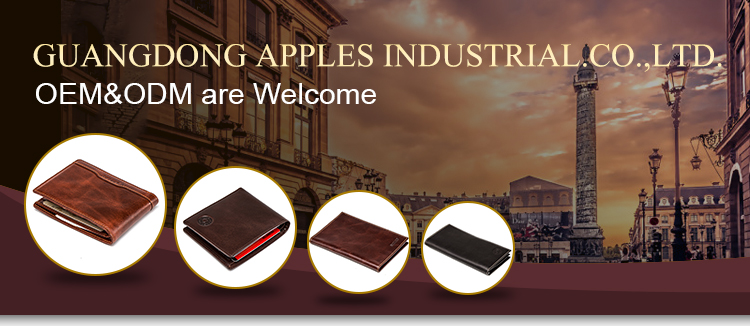 Guangzhou Manufacturer Custom Logo Genuine Leather Black Man Wallet With Zipper