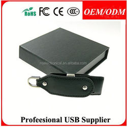 logo print leather usb stick , leather pouch for usb flash drive
