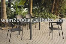 aluminum PE wicker dining set