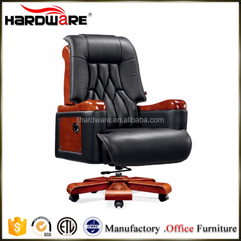Black Leather Swivel Office Chair High End CEO Chair