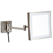 Newest sale LY-1802D high quality wall mounted stainless steel square light magnifying vanity mirror
