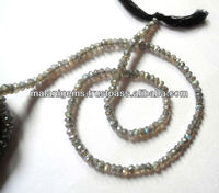 Labradorite Facet Roundel Beads Natural Mystic Coated String