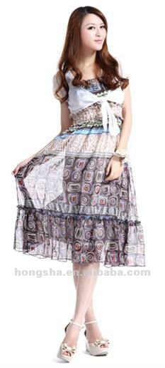Bohemian short sleeve braces skirt&chiffon one piece dress Hss-013
