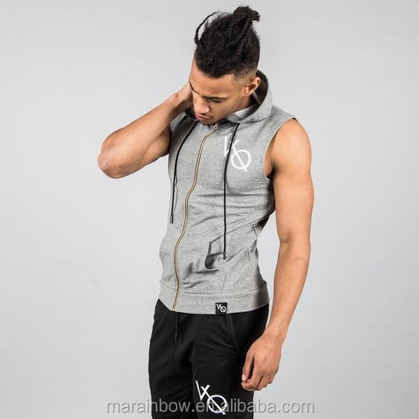 OEM Mens Ash Grey Custom Sleeveless Hoodie Muscle Bodybuilding Gym Hoodie Full zipper Hoodie Fitness Clothing