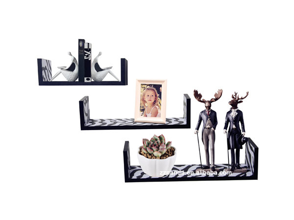 Set of 3 decorative floating wall mount home wall shelf