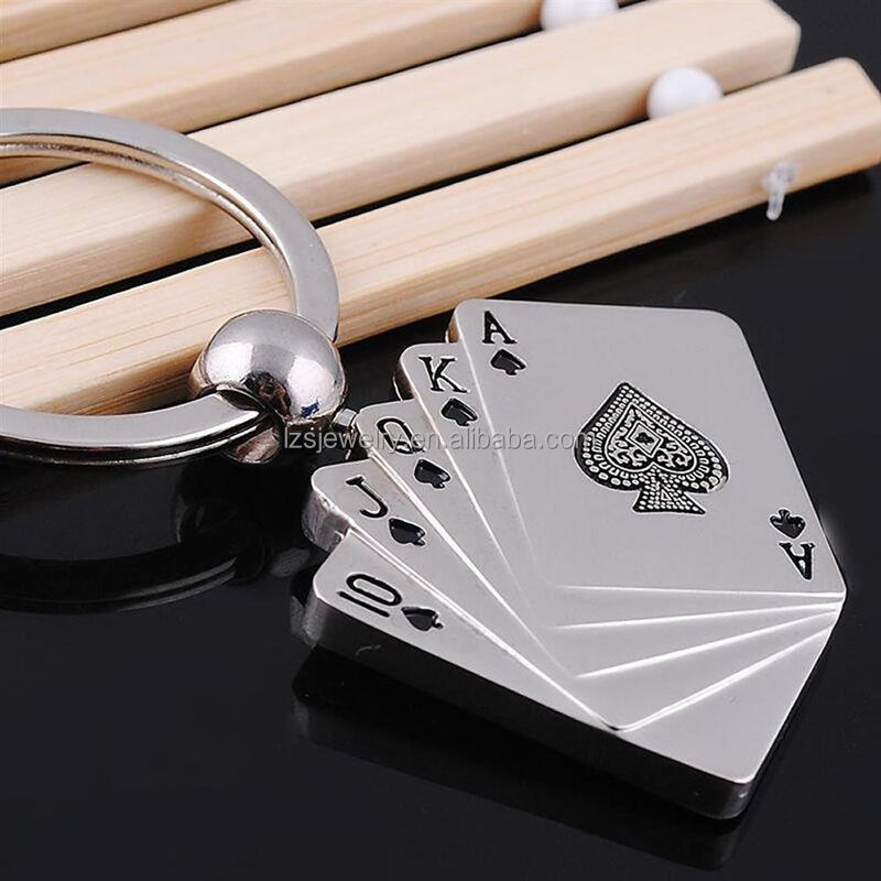 Hot Sale Unique Playing Card Desin Metal Keychain Men's Car Keychain Key Rings