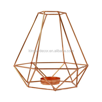 Iron wire copper decor tealight candle holder