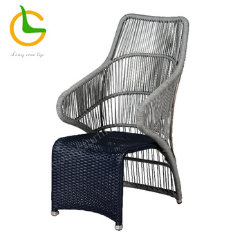 Grey aluminum rope woven high back dining room chair
