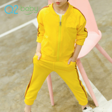 Q2-baby Quality Products Simple New Design Stripe Casual Zipper Kid Track Sweat Suits