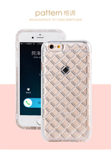 new arrival crystal grid clear tpu cell phone case for iphone 6