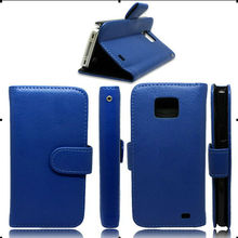 stand and credit car hold wallet leather case for samsung galaxy s2 i9100 case