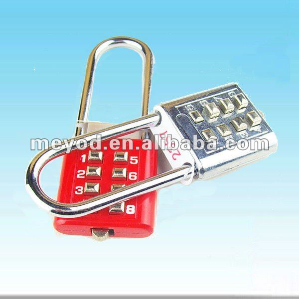 Long shackle button-push custom combination padlock