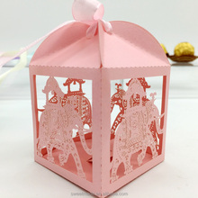Wholesale factory direct elephant laser cut indian wedding door gift boxes for candles