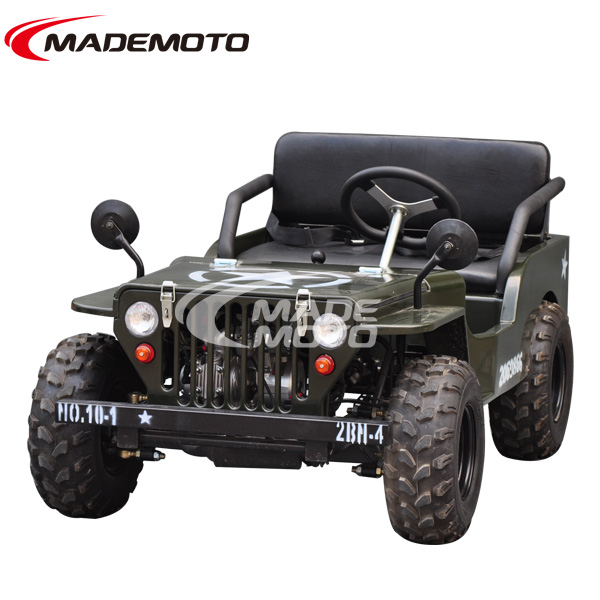 Amusement kiddie manual ride 150cc 2 seats mini jeep with shock absorber willys