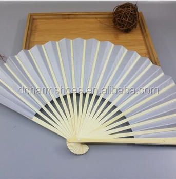 Printing logo on paper bamboo fans online selling in 2017